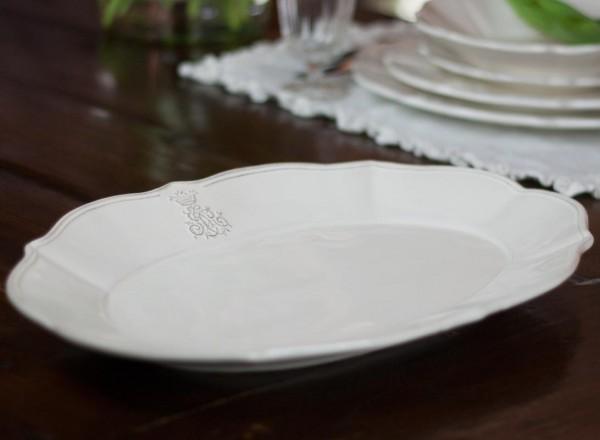 Carolina Elfenbein ovale Platte
