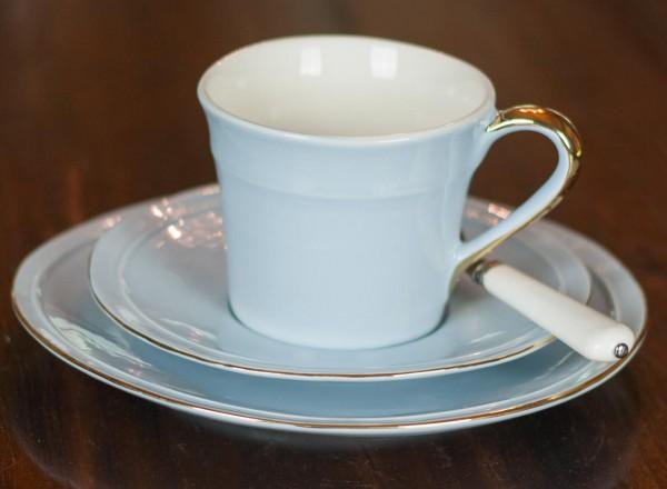 Sissi-hellblau 3-teiliges Kaffeegedeck mit Goldrand